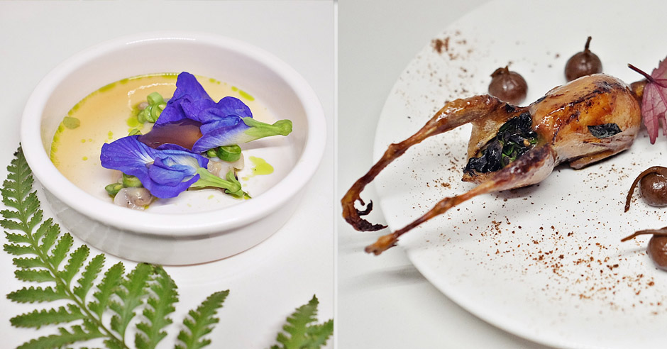 Left: Lala Clams with Rose Apple Verjuice. Right: Quail with Poached Figs