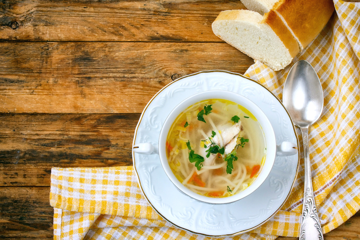 A bowl of clear noodle soup is a good way to stave off mid-day hunger pangs