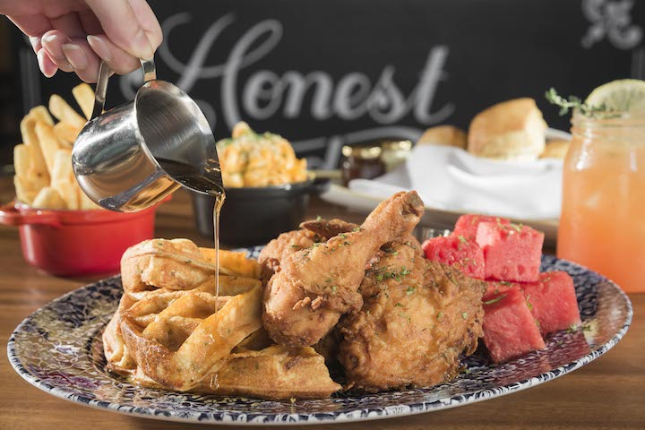 At The Bird, Southern fried chicken is served with refreshing cubes of watermelon and savoury waffles