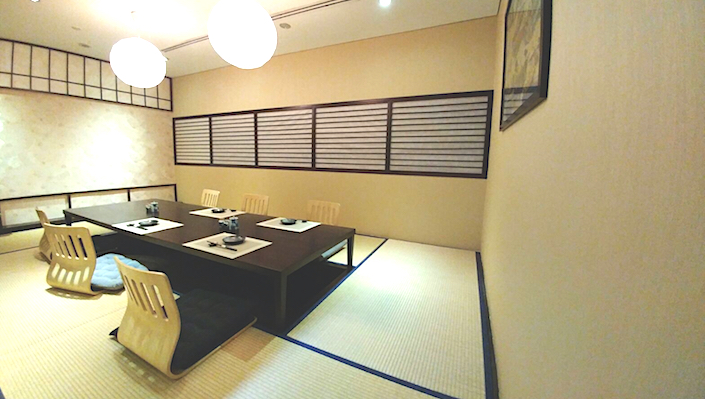 At Santaro by Gion, guests can choose to dine in private rooms where they sit on tatami floors.