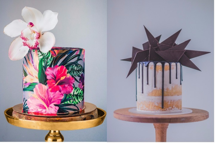 (L): Tropical Prints cake by Julian Angel, (R) Chocolate Spike by Clifford Luu