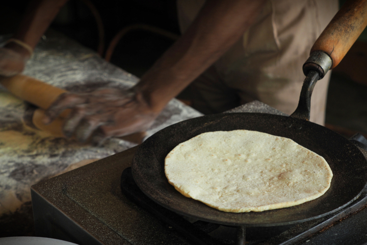 Chapati cooked on a tava