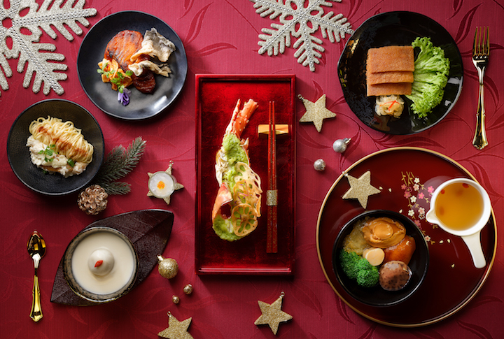 In the Oriental Festive menu, the steamed lobster is dressed with fragrant minced ginger sauce