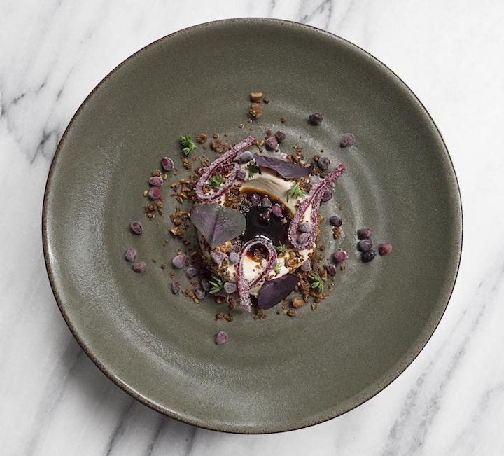 Foie gras ice cream, blackberries and birch syrup. Credit: Signe Birck.