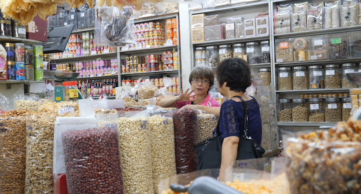 Mdm Yeo Hoon Yee (Left) has been in the dried goods business for more than 40 years. (Pic: Chen Ngee Ann)