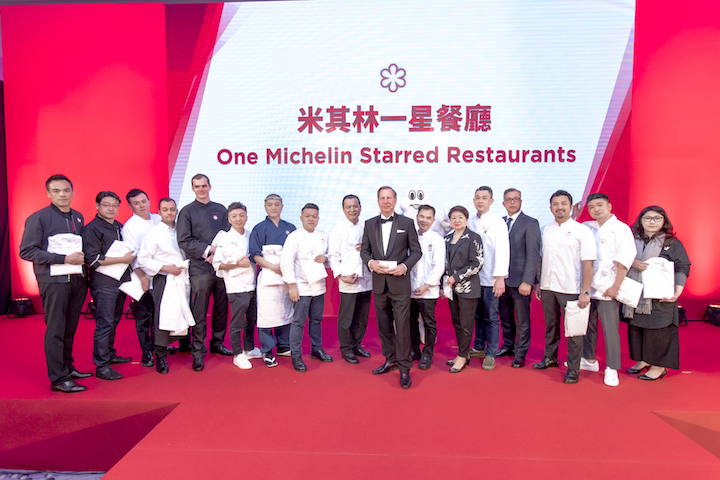 Chefs and restauranteurs from one Michelin-starred restaurants at the MICHELIN Guide Taipei 2018 Gala.